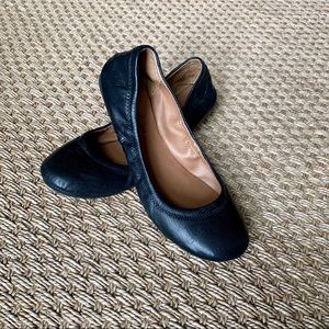 Lucky Brand Black Leather Ballet Flats Size 7.5